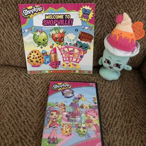 Shopkins book, plush toy, and dvd for Sale in St. Peters, MO