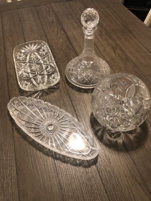 Rogaska Crystal Vase, Decanter, and 2 trays for Sale in Fresno, CA