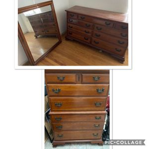 Solid Cherry And Maple Dresser Tall Boy 3 Piece Set for Sale in Upland, CA