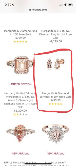 Morganite and diamond 10 K earrings for Sale in Tolleson, AZ