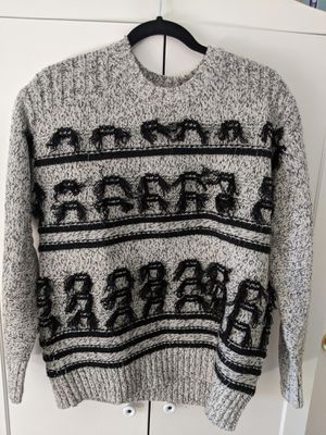 Current/Elliott Sweater Medium Gray Jacquard Fringe Wool Sweater for Sale in San Diego, CA