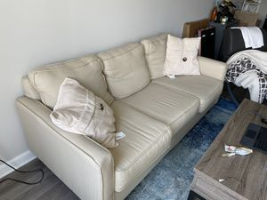 Beige 3 cushion couch with pillows for Sale in Fairfax, VA
