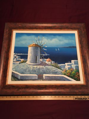 Oil Painting Canvas Beach Scene From Greece Authentic! for Sale in Laurel, DE