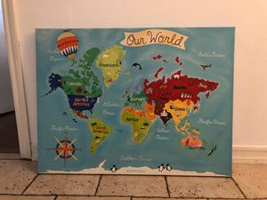 Map of the world canvas for kids for Sale in Anaheim, CA