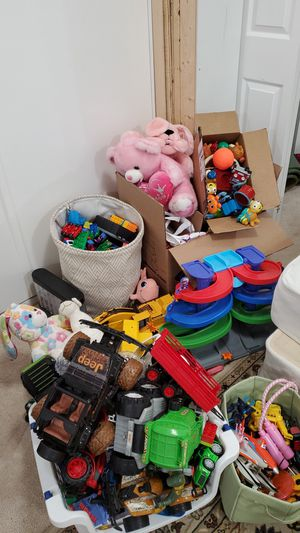 Childrens toys kids books white board cars dolls etc for Sale in Garrison, MD