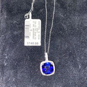.925 Sterling Silver Sapphire CZ Pendant for Sale in Modesto, CA