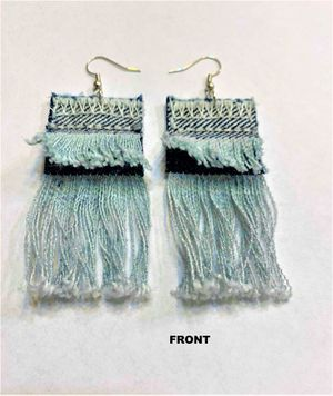 Fray Denim Earring Large Style of curtain style earring for Sale in Peoria, IL