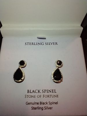 GENUINE BLACK SPINEL STONE OF FURTUNE STERLING SILVER EARRINGS MADE BY R H MACY & CO for Sale in South Pasadena, CA