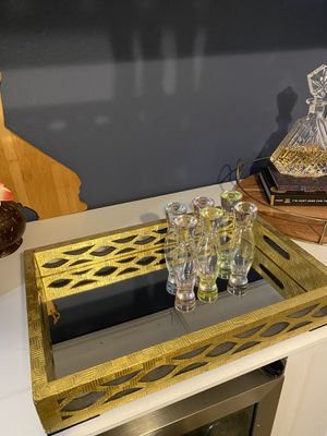 Bar tray with 6 free shot glass set for Sale in Cupertino, CA