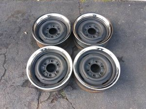 6 lug Chevy steelie truck rims and trim rings from a 1967 c10 for Sale in Montebello, CA