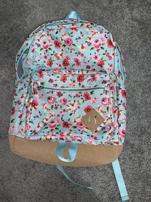 Blue Backpack with Pink Flowers, Suede bottom for Sale in Marietta, GA