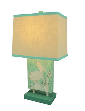 💥 Turquoisҽ and Whitҽ Pelicⓐn Tⓐble Lⓐmp with Linen Look Shⓐde for Sale in Los Angeles, CA