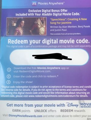 Movie digital code Disney Aladdin HD for Sale in Washington, DC