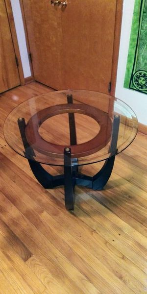 Glass top wood base coffee table and one end table very good condition for Sale in Cleveland, OH