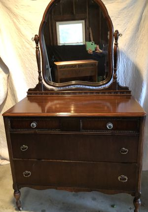 Antique wooden dresser with tilt mirror for Sale in Winfield, IL