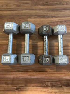 Weights dumbbells 10lb's & 15lb's sets for Sale in Tampa, FL