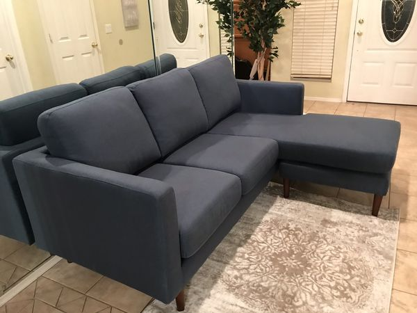 Navy blue linen brand new mid century modern sectional / sofa ( the chaise can be in either side)
