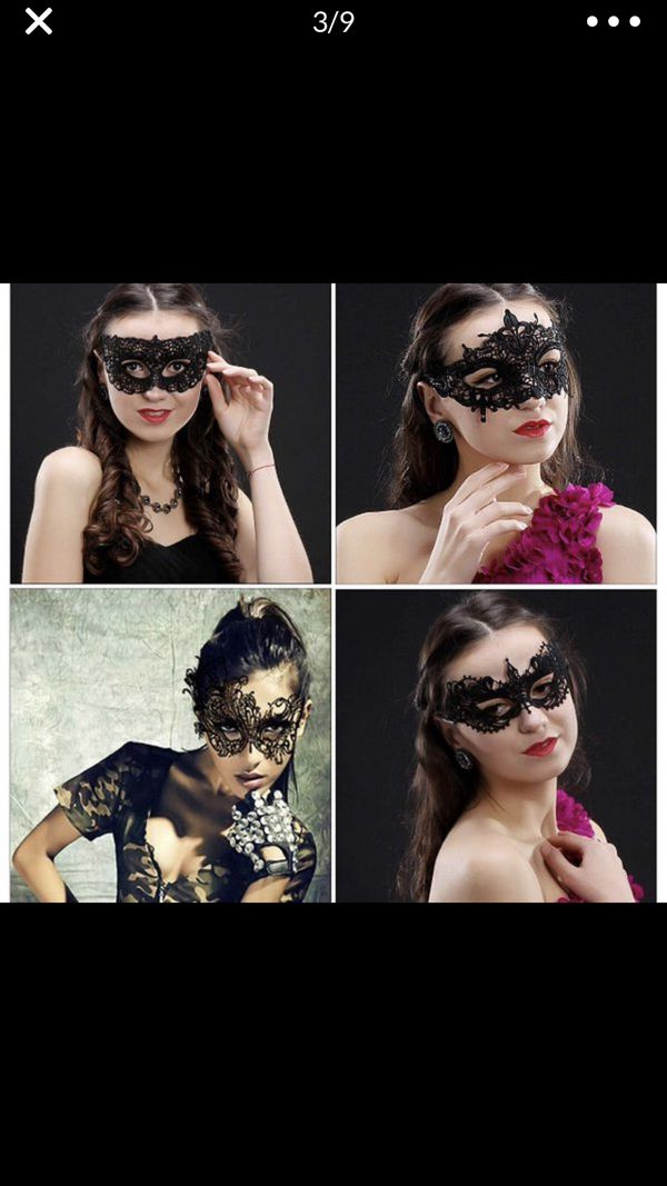 15 Pieces Lace Masquerade Mask Venetian Halloween Costume Sexy Woman Mask Exquisite High-end Lace Masquerade Mask (Black