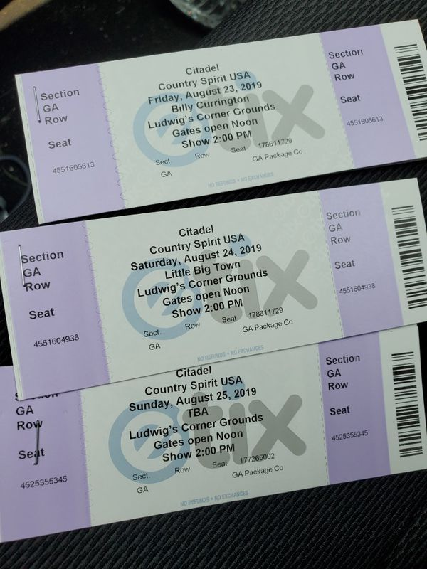 2- 3day GA passes for the citadel country music festival
