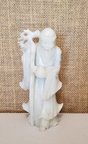 Stone Asian Carving of Shou Lao with Peach Staff for Sale in Burien, WA