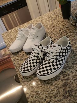 2 Pairs Of Women's 9 Vans, White And Checkered for Sale in West Palm Beach,  FL