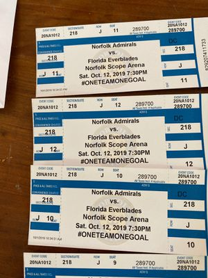Admirals tickets Saturday 10-12 for Sale in Virginia Beach, VA