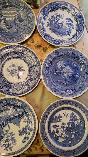 set de 6 THE,SPODE BLUE ROOM COLLECTION WILLOW X1790 Y 1811 1830 Y 1820 for Sale in Turlock, CA