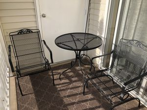 Outdoor Wrought Iron Furniture Set with Matching Hanging Basket Holder for Sale in Bremerton, WA