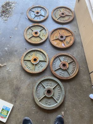 Seven 45lb weights . Rusted but easy to clean for Sale in Corona, CA
