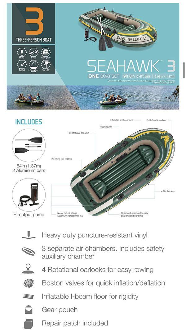 BNEW Intex Seahawk 3, Inflatable Boat Set w/ Aluminum Oars & Air Pump