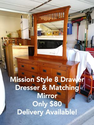 Mission Style 8 Drawer Dresser w/ Beveled Glass Vanity Mirror for Sale in Peoria, AZ