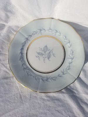 "Northumbria fine China made in England antique vtg original set of 4 morning mist pattern salad plates 8"" gold rim & blue flowers for Sale in Chandler, AZ"