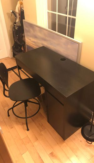 Small black desk and chair for Sale in Boston, MA