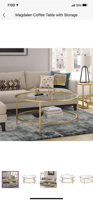 Wayfair Magdalen Gold Coffee Table with Storage for Sale in Baltimore, MD