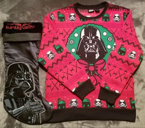 YOUTH M STAR WARS DARTH VADER BOBAFETT CHRISTMAS SWEATER, SILK STOCKING for Sale in Scottsdale, AZ