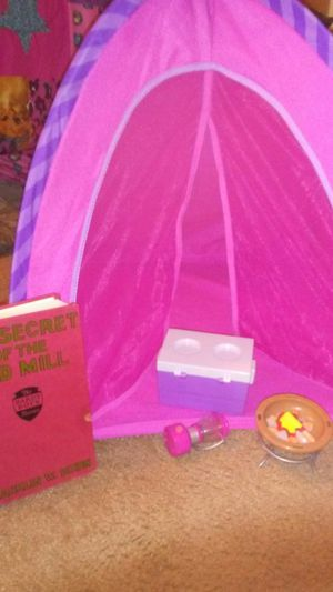A tent w fire place light and cooler and book for Sale in Old Fort, NC