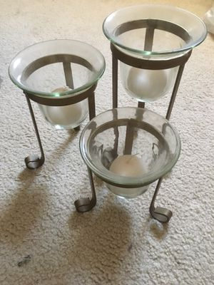Metal and glass candle holder for Sale in Billerica, MA