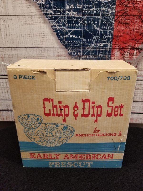Vintage Glass Chip & Dip Set