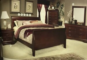 LOUIS PHILIPPE CHERRY BEDROOM SET KING OR FULL SIZE $819 for Sale in Denver, CO