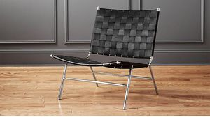 Black Leather Woven Chair for Sale in Portland, OR