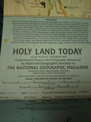 """Vintage 1964 National Geographic Map """"Holy Lands Today"""" for Sale in Tacoma, WA"""