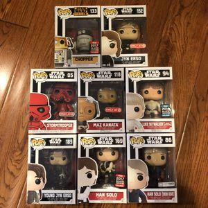 Funko Pop - Star Wars Assortment - Han Solo, Jyn Erso, Maz, Luke, Stormtrooper, Chopper for Sale in Rowland Heights, CA