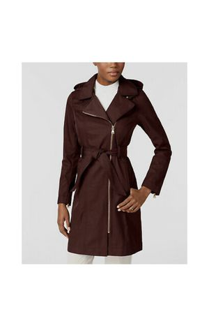 $380 Vince Camuto Women's Red Full Zip Belted Hooded Raincoat Jacket Coat Size M for Sale in Atlanta, GA