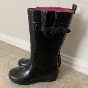 Women's Rain Boots Size 7 Wedge Heels Black by Capelli for Sale in Forney, TX