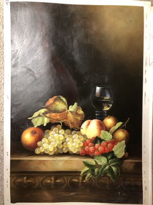 Fruit and wine oil painting for Sale in Ridgefield, CT