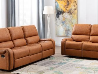 Camel Leather Reclining Sofa and Loveseat *BRAND NEW* for Sale in Columbia,  MD