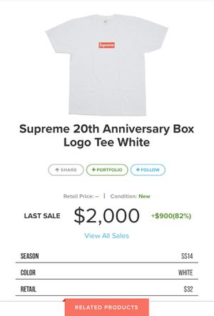 Supreme 20th Anniversary Box Logo Tee White - XL for Sale in Chula Vista, CA