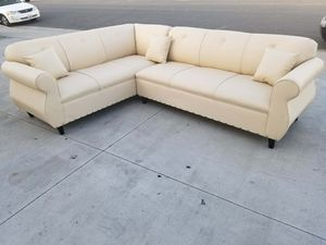 NEW 7X9FT CREAM LEATHER SECTIONAL COUCHES for Sale in Buena Park, CA