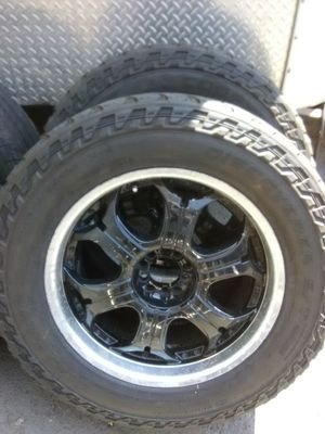 Rim to rim to tires Universal 5 lug 5 on 5 fit Ford Jeep and Dodge old school $150 for wheels and tires for Sale in West Valley City, UT