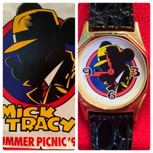 Disney Character Mick Tracy Ladies Watch and Cast Member Summer Picnic Poster-Vintage 1990-New Battery for Sale in Chandler, AZ